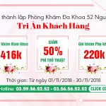 Ưu đãi tháng 11 mừng Ngày thành lập phòng khám Đa khoa 52 Nguyễn Trãi